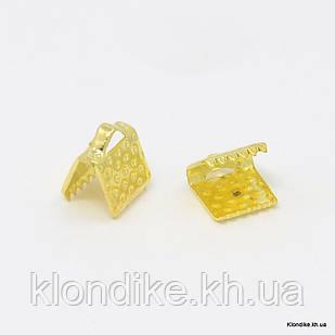 Концевики Зажимы для Лент, Железные, 8×5×5 мм, Цвет: Золото (20 шт.)