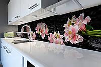 Кухонный фартук Розовые Альстромерии (скинали для кухни наклейка ПВХ) цветы на черном фоне 600*2500 мм
