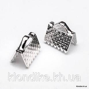 Концевики Зажимы для Лент, Железные, 8×6×5 мм, Цвет: Серебро (20 шт.)