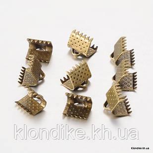 Концевики Зажимы для Лент, Железные, 8×6×5 мм, Цвет: Бронза (20 шт.)