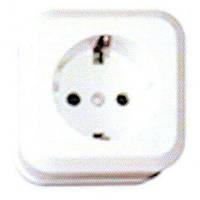 DESANT Розетка одинарная накладная C/З белая (Janex) D-607