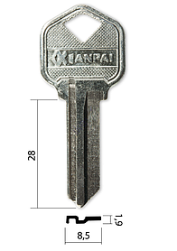 Заготівля ключа KWI-1/KS1