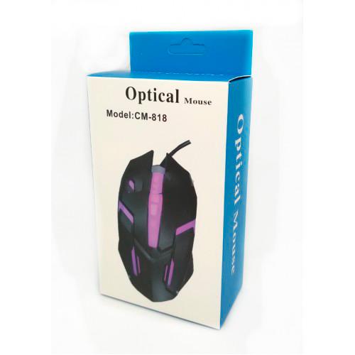 Мышь проводная оптическая CM-818 с подсветкой (в коробке) / Игровая проводная мышь / Геймерская мышь, Мышь проводная оптическая CM-818, Мышь