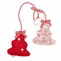 Бело-красное тканевое украшение, Елка, 20 см (430390)