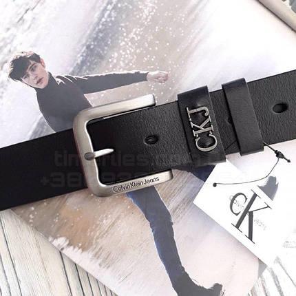 Чоловічий шкіряний ремінь Calvin Klein Jeans Чорний AAA Copy, фото 2