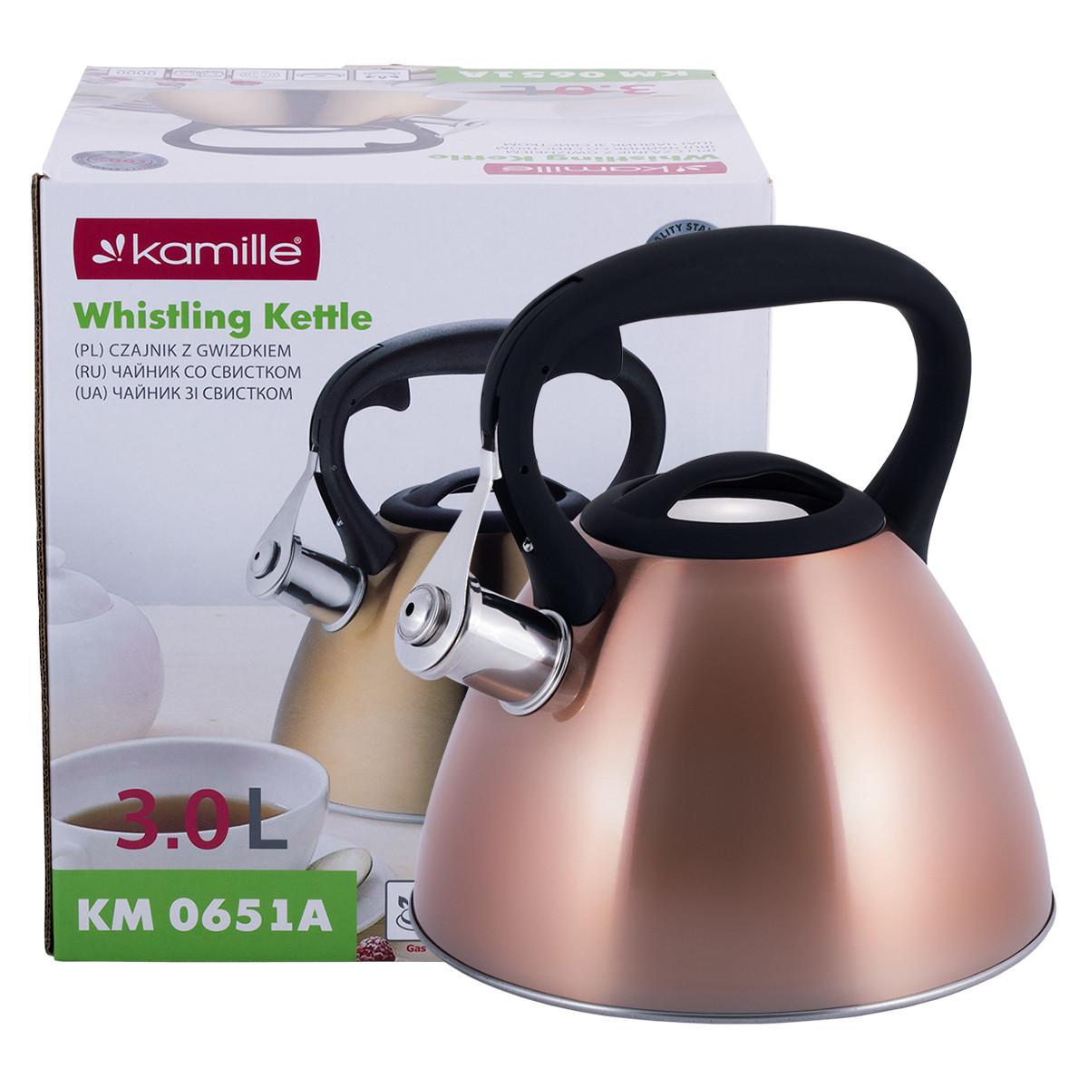 Чайник Kamille 3л з нержавіючої сталі зі свистком і чорною бакелітовою ручкою для індукції і газу KM-0651A