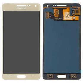 Дисплей (екран) для Samsung A500 Galaxy A5 з сенсором (тачскріном) золотистий з регулюванням (TFT)