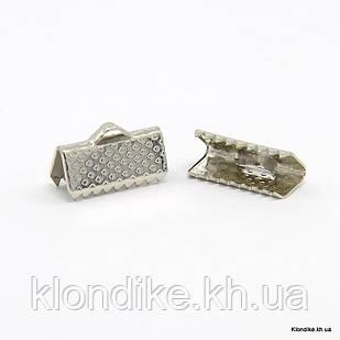 Концевики Зажимы для Лент, Железные, 13×7×5 мм, Цвет: Платина (20 шт.)