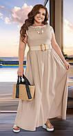 Светлое летнее длинное платье из льна (L)