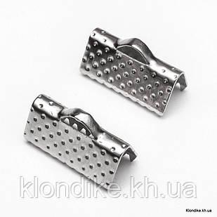 Концевики Зажимы для Лент, Железные, 13×7×5 мм, Цвет: Платина (50 шт.)