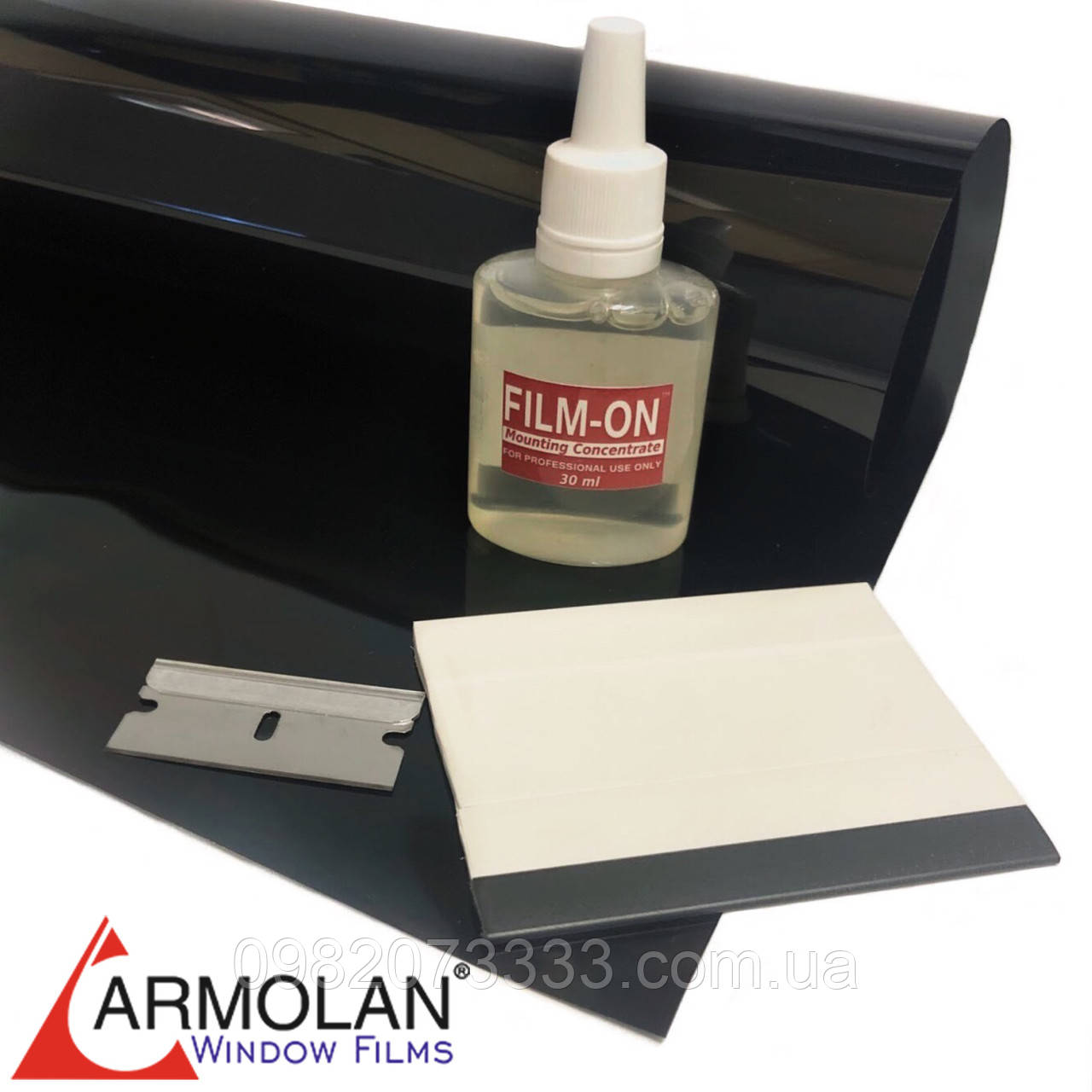 Тонировочная плёнка HP Carbon 20 (размер 0,75х3м) + инструмент для тонировки авто Armolan США цена за комплект