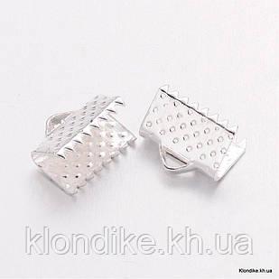 Концевики Зажимы для Лент, Железные, 10×7×5 мм, Цвет: Серебро (20 шт.)