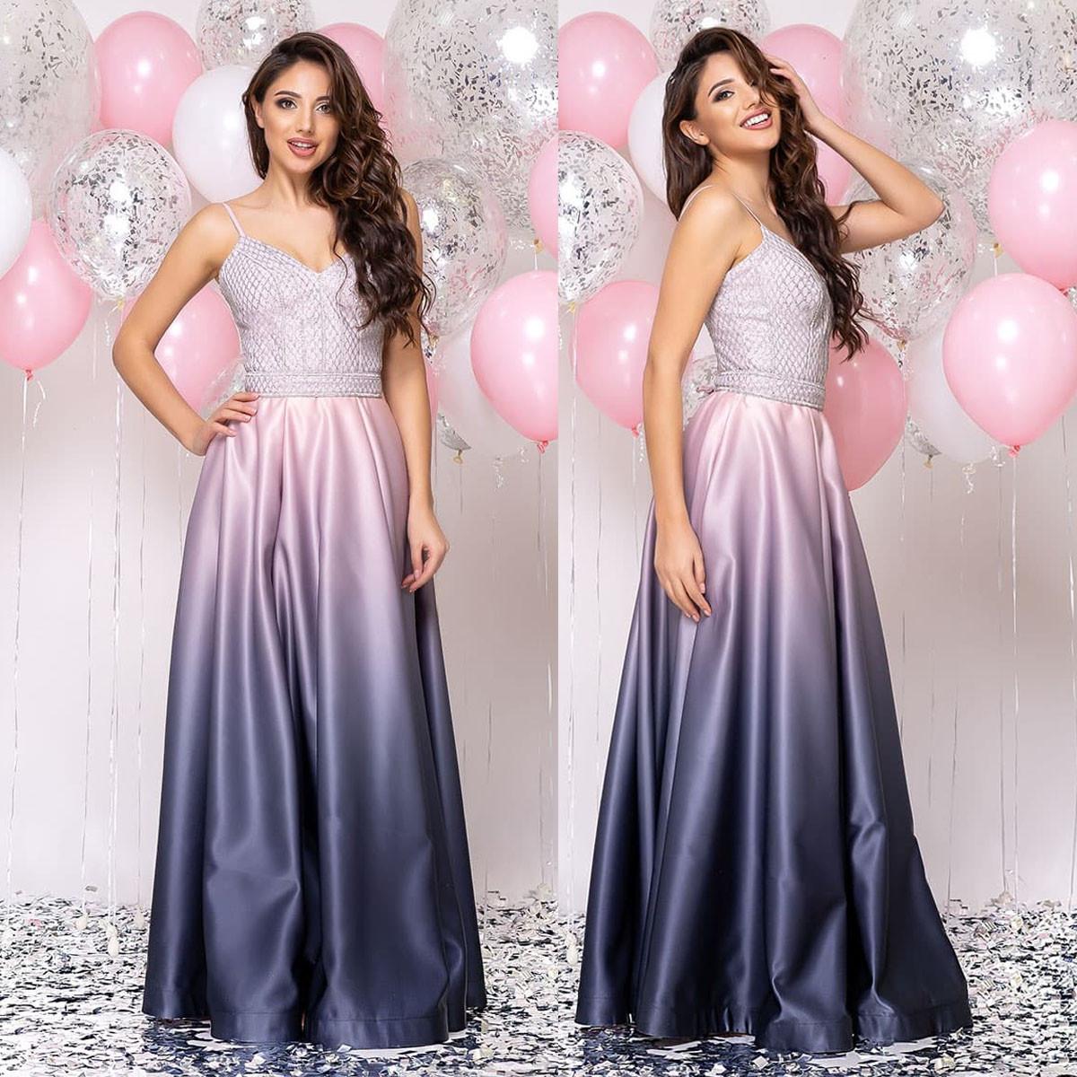 """Элегантное розовое платье атласное вечернее """"Ривьера"""""""