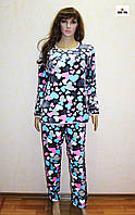 Пижама женская махровая теплая зимняя в сердце 40-58 р.