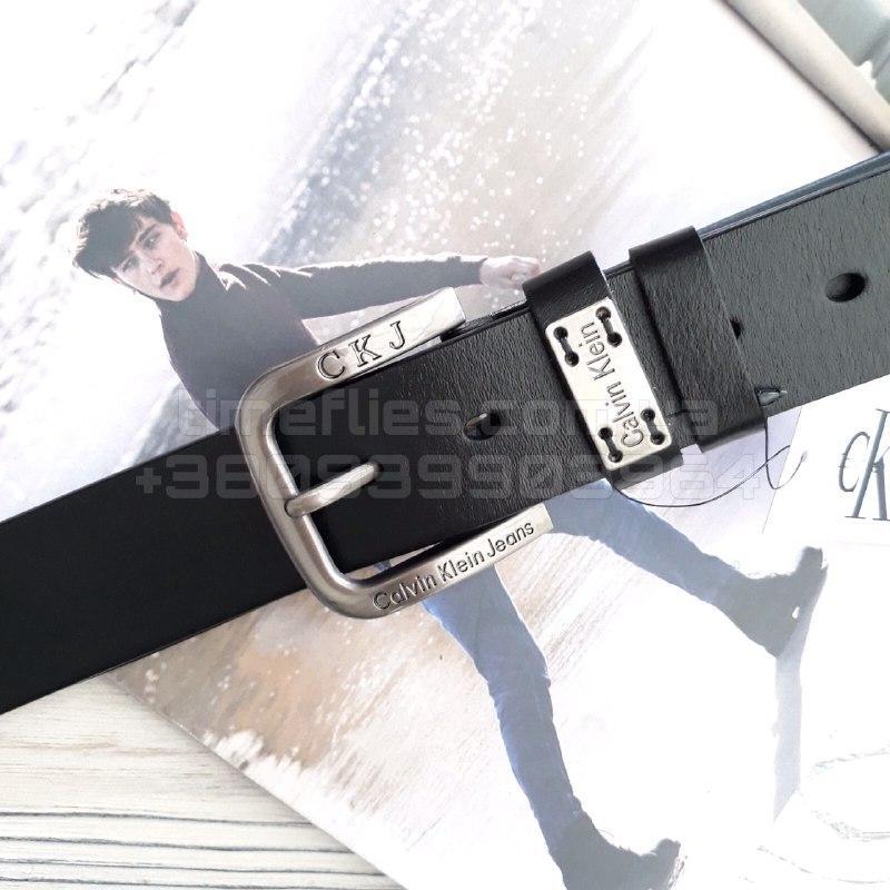 Чоловічий шкіряний ремінь Calvin Klein Jeans Чорний AAA Copy