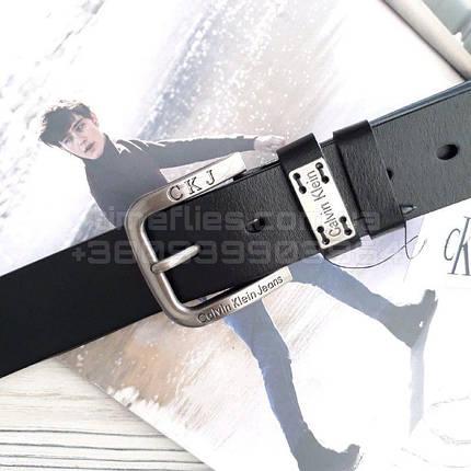 Мужской кожаный ремень Calvin Klein Jeans Черный AAA Copy, фото 2