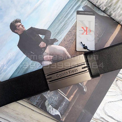 Мужской кожаный ремень Calvin Klein с пряжкой автоматом Черный AAA Copy, фото 2