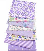 Сиреневый набор лоскутов сатина для рукоделия с цветочным узором - 8 отрезов 40*50 см