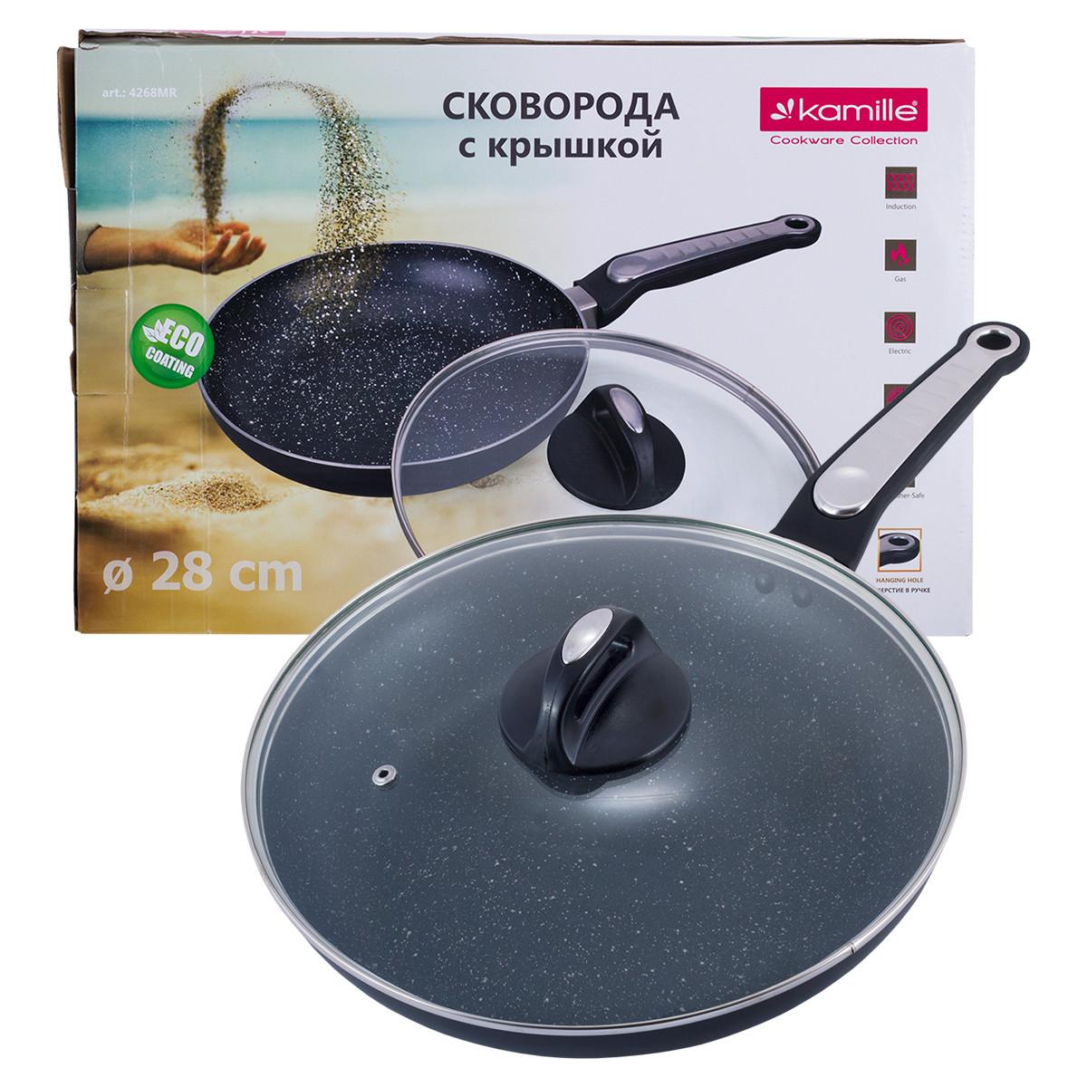 Сковорода Kamille 28см с мраморным покрытием и крышкой для индукции и газа KM-4268MR
