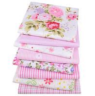 Розовый набор лоскутов сатина для рукоделия с цветочным узором - 8 отрезов 40*50 см
