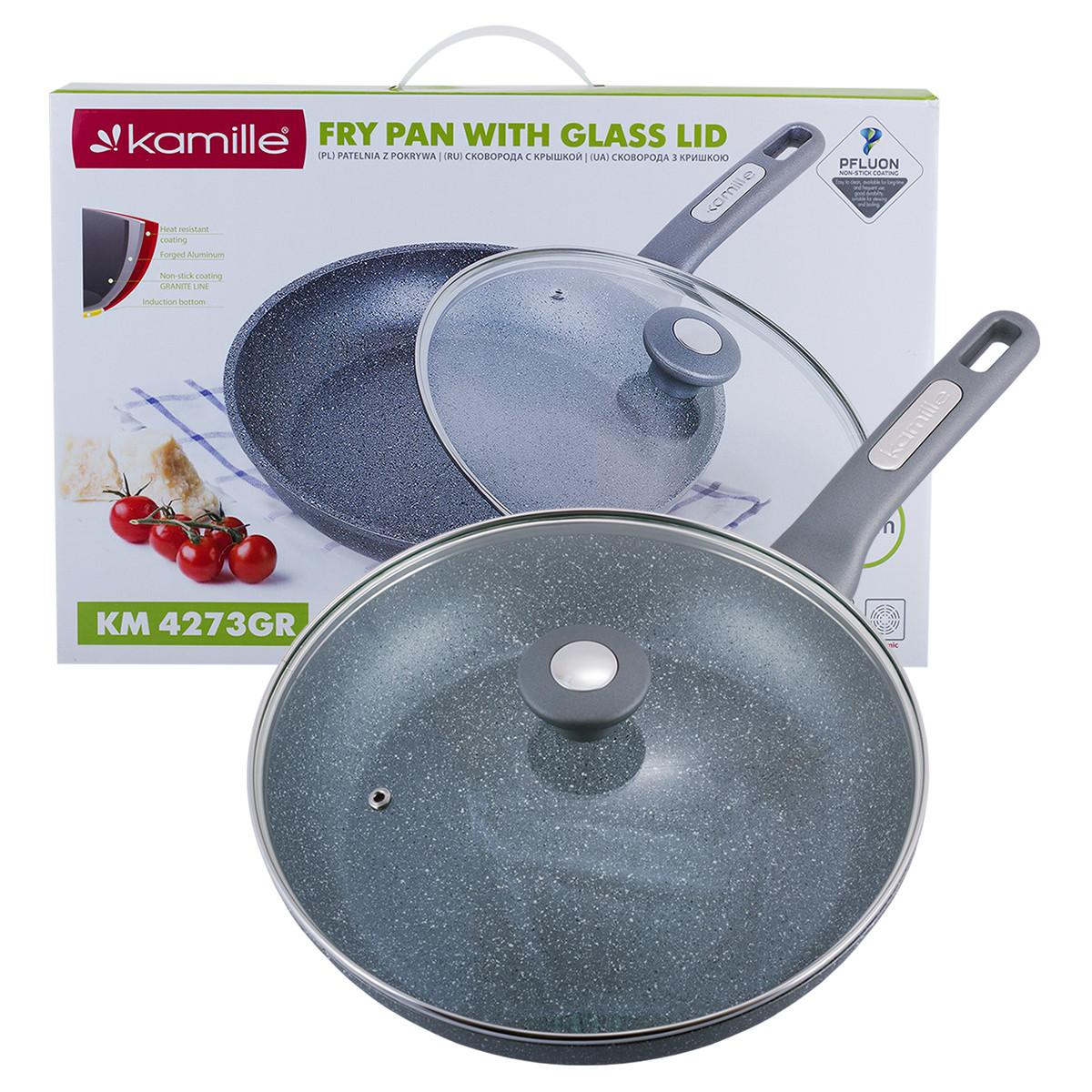 Сковорода Kamille 28см с гранитным покрытием и крышкой для индукции и газа KM-4273GR