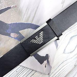 Мужской кожаный ремень Giorgio Armani с пряжкой автоматом Черный AAA Copy