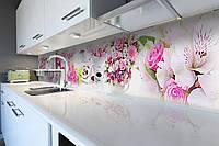 Кухонный фартук Цветочные букеты (скинали для кухни наклейка ПВХ) розы цветы сладости Розовый 600*2500 мм
