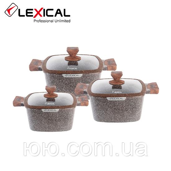 Набор кастрюль 20/24/28см LEXICAL LG-440601-2, антипригарное гранитное покрытие, 6 предметов,Choco