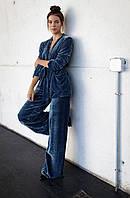 Велюровий, оксамитовий костюм штани і жакет, піджак жіночий 42-74+батал
