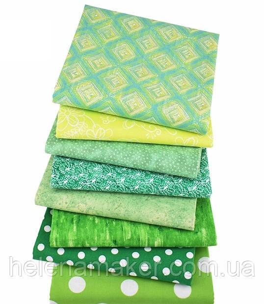 Зелений (салатовий) набір тканини для рукоділля - 8 відрізів 25*25 см