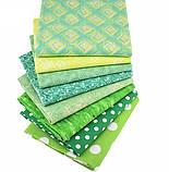 Зелений (салатовий) набір тканини для рукоділля - 8 відрізів 25*25 см, фото 2