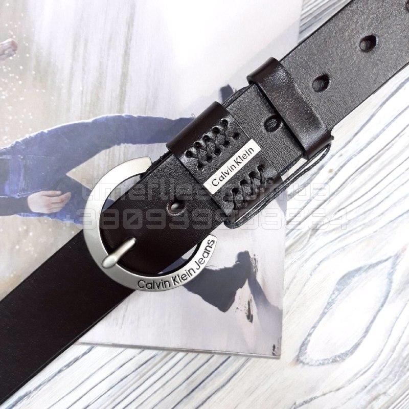 Мужской кожаный ремень Calvin Klein Jeans Черный AAA Copy