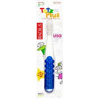 RADIUS, Зубная щетка Totz Plus для детей от 3 лет, белая/синяя, 1 шт.