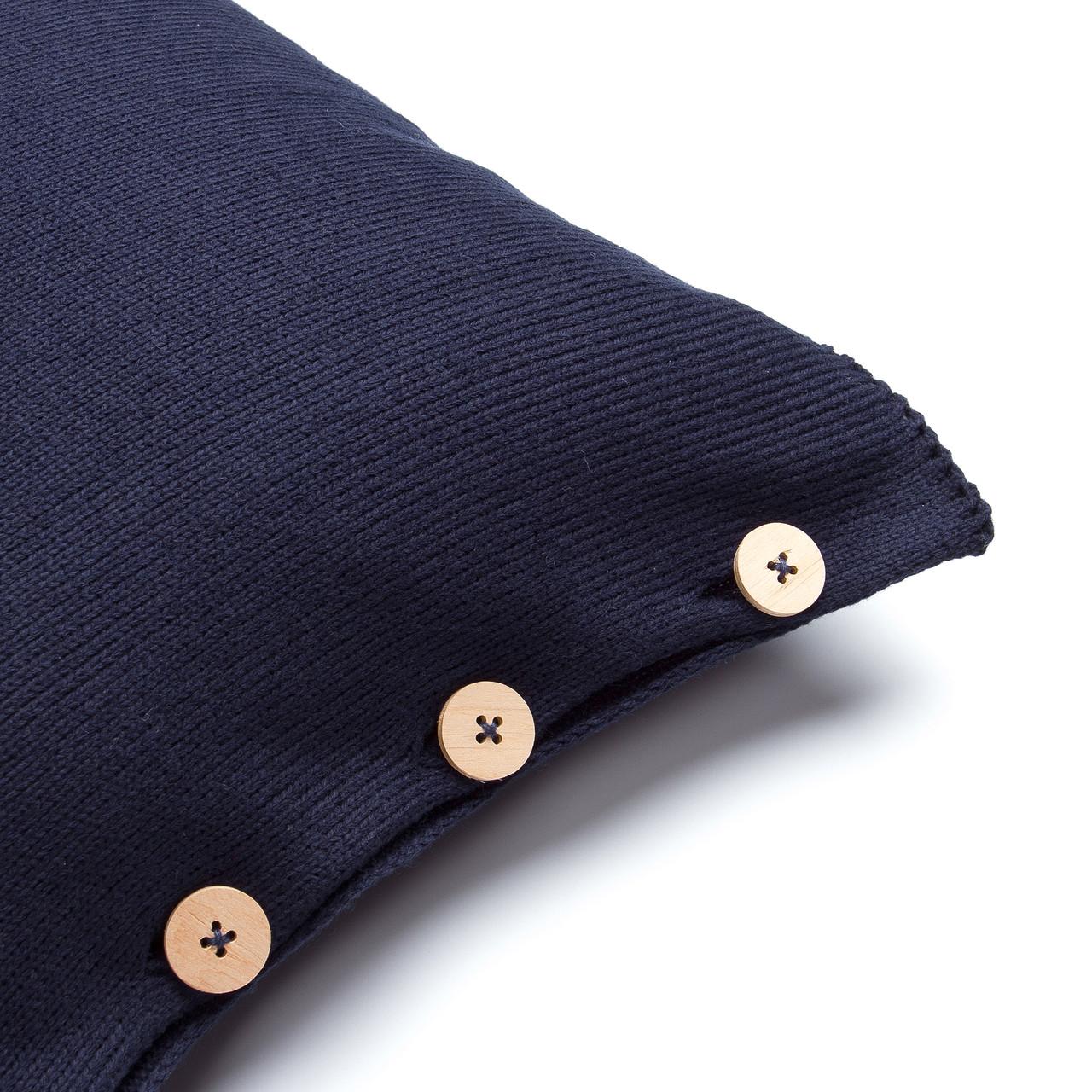 Чехол для подушки Ohaina вязаный 40х40 Dark Blue