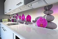 Кухонный фартук Пирамида из Камней (скинали для кухни наклейка ПВХ) орхидеи цветы Серый 600*2500 мм