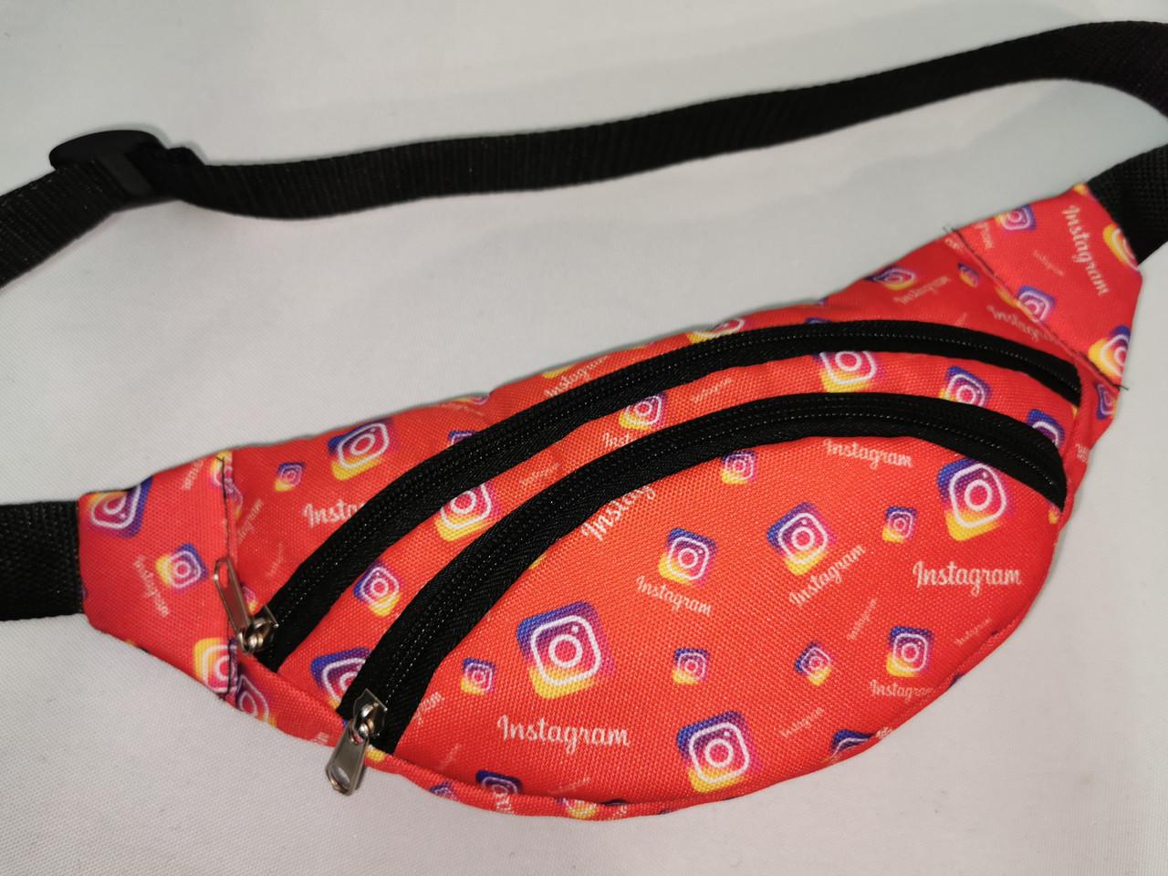 Детская сумка на пояс Instagramm 11*31 см