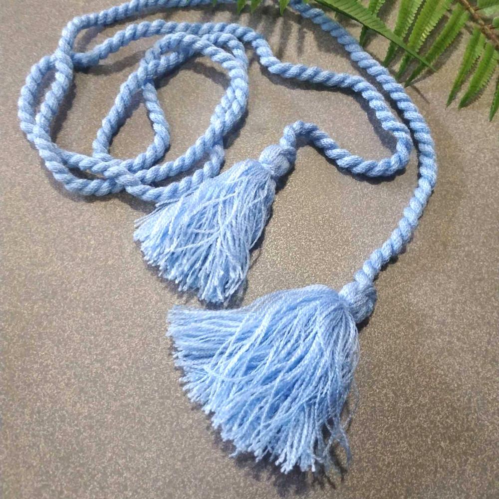 Пояс шнурок голубой