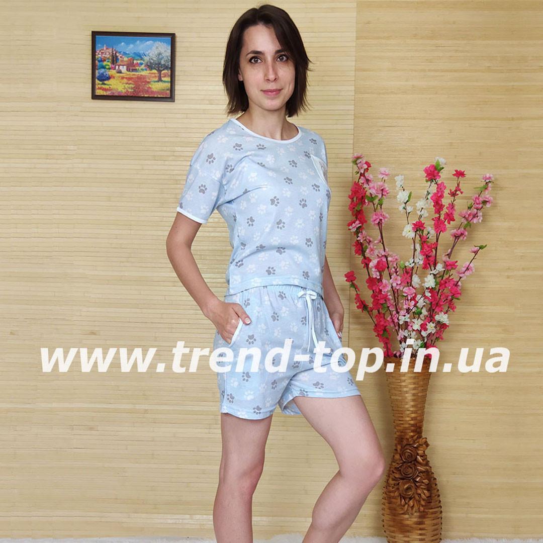 Пижама майка и шорты женские (светло-голубая)