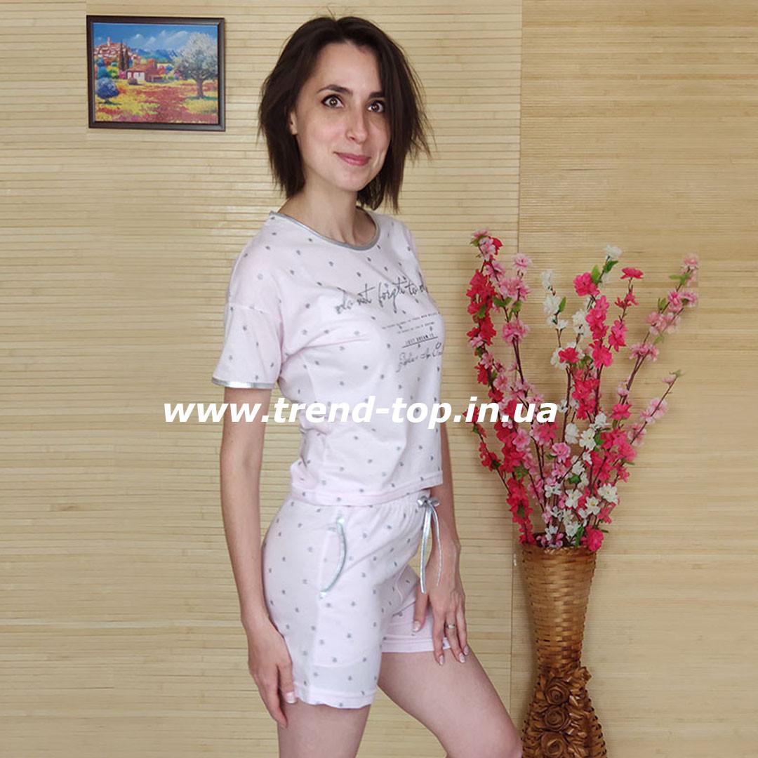 Костюм женский шорты и футболка (светло-розовая)