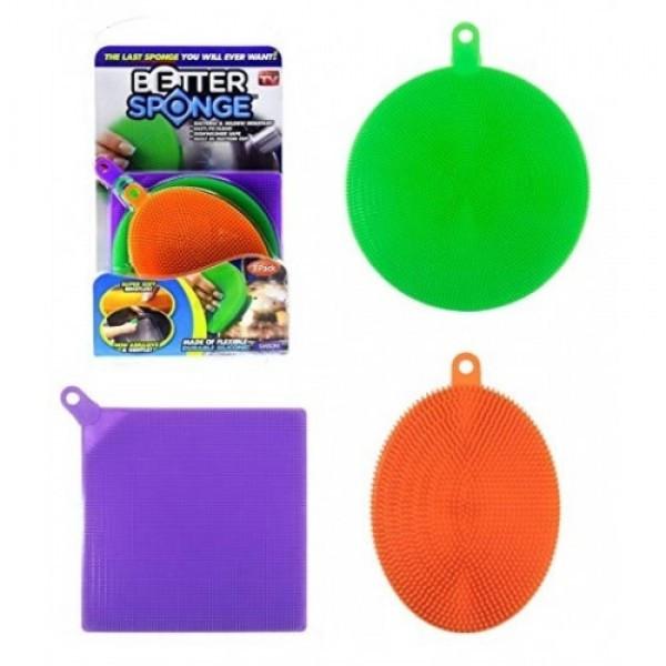 Набор универсальных силиконовых щеток-губок Better Sponge. Губка для мытья. Силиконовый спонж.