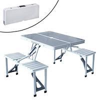 Стол трансформер для пикника складной портативный, 4 стула, алюминиевый