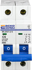 Автоматичний вимикач УКРЕМ ВА-2017/С 2р 5А АСКО, фото 2