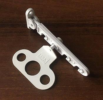 Гребенка ограничитель с крюками откидывания или открывания створки металлопластикового окна под ручку