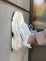 Женские кроссовки Balenciaga Triple S в стиле Баленсиага Трипл С БЕЛЫЕ (Реплика ААА+)