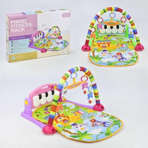 Развивающий коврик для ребенка 700*460 мм, с пианино,4 подвесками HE 0603-0604
