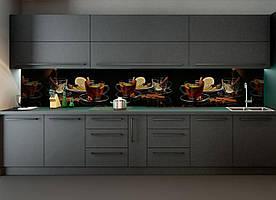 """Скинали на кухню Zatarga """" Чай специи"""" 600х2500 мм черный виниловая 3Д наклейка кухонный фартук самоклеящаяся"""