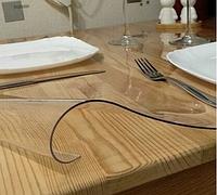 Прозрачная силиконовая скатерть на стол Soft Glass 1.0х1.0 м толщина 1.5 мм Мягкое стекло