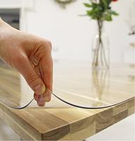 Прозрачная силиконовая скатерть на стол Soft Glass Защита для мебели 1.0х1.1 м Толщина 1.5 мм Мягкое стекло