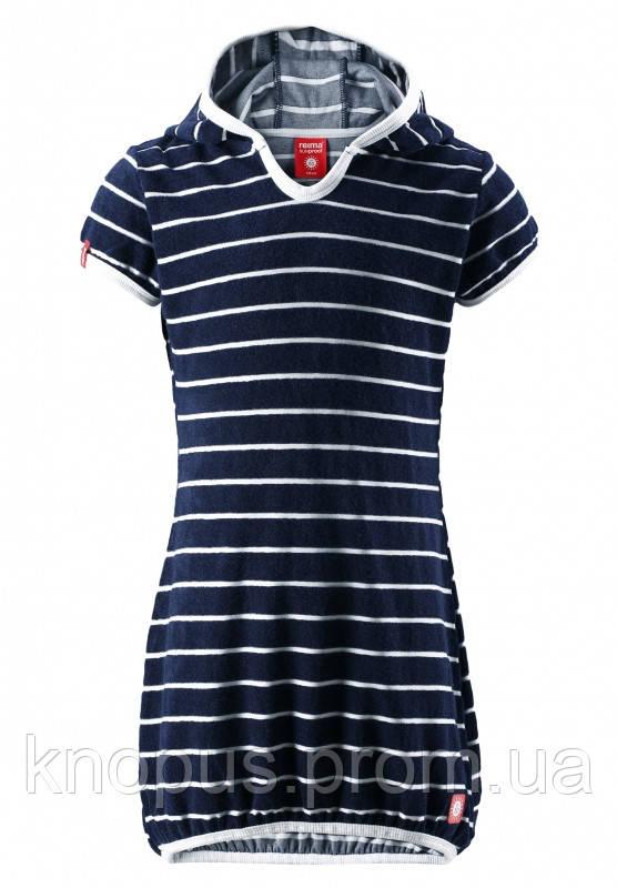 Нарядное платье для  девочки Genua,темно-синее в белую полоску, Reima размеры 116-146