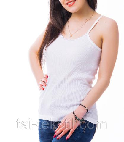 """KO-MI майка женская """"в рубчик"""" Турция хлопок 100 % био-коттон белый цвет L-8 (50-52р)"""